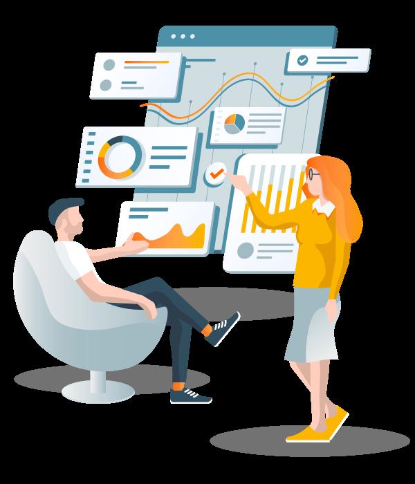 Desenho de homem e mulher conversando sobre banco de dados