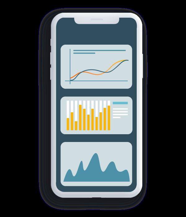 Ilustração de celular com dados e gráficos nele