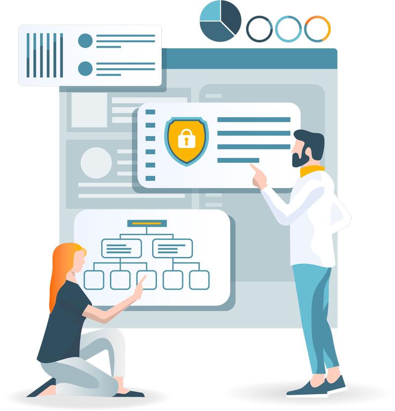 Desenho de homem e mulher analisando segurança e ramificações de dados