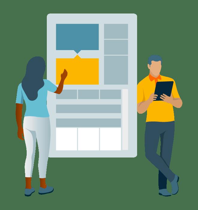 Desenho de mulher analisando servidor e um homem ao lado olhando um tablet
