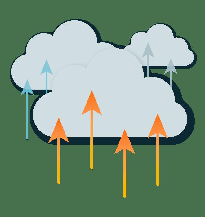 Desenho de nuvem com setas apontando para cima