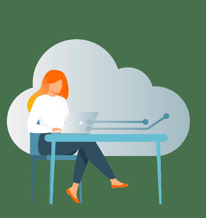 Desenho de mulher sentada em uma mesa mexendo em seu notebook com uma nuvem ao fundo