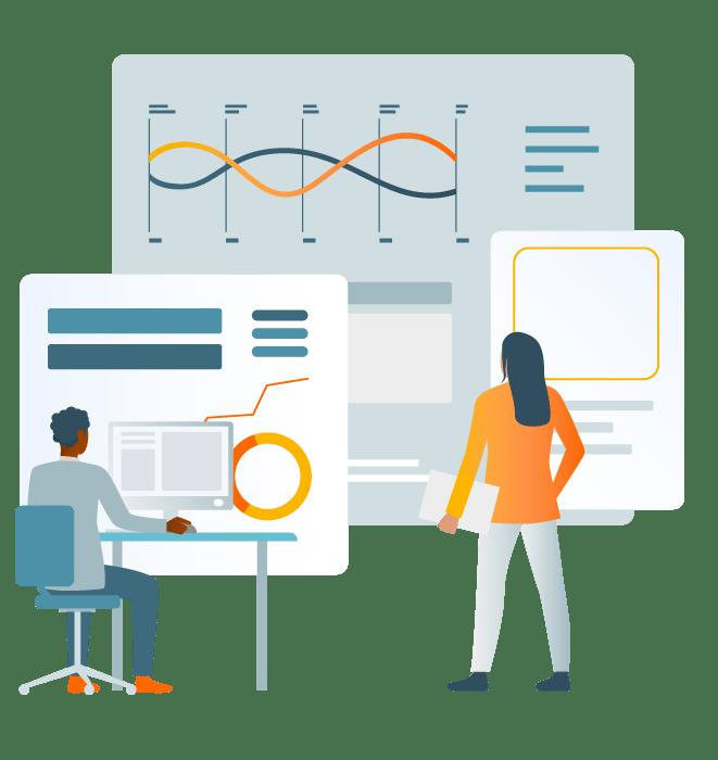Desenho de homem e mulher analisando gráficos