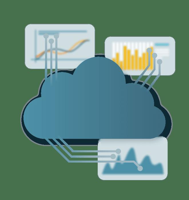Nuvem com dados sendo interligados ao fundo